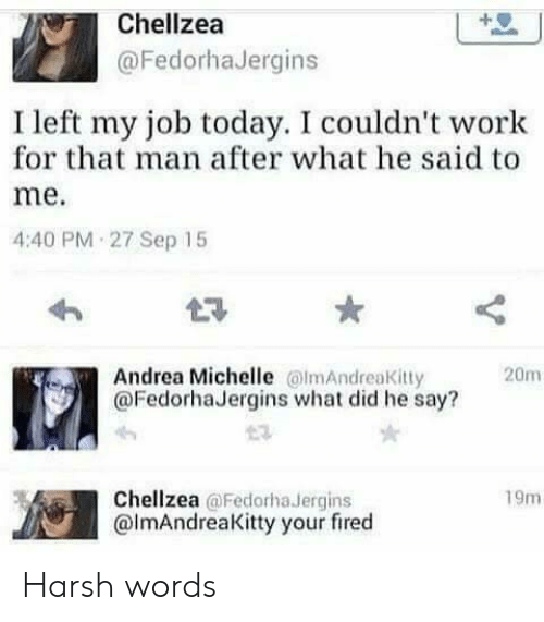 Work, Today, and Harsh: Chellzea  @FedorhaJergins  I left my job today. I couldn't work  for that man after what he said to  me.  4:40 PM 27 Sep 15  L3  Andrea Michelle mAndreaKitty  @FedorhaJergins what did he say?  20m  Chellzea @Fedorha Jergins  @lmAndreaKitty your fired  19m Harsh words