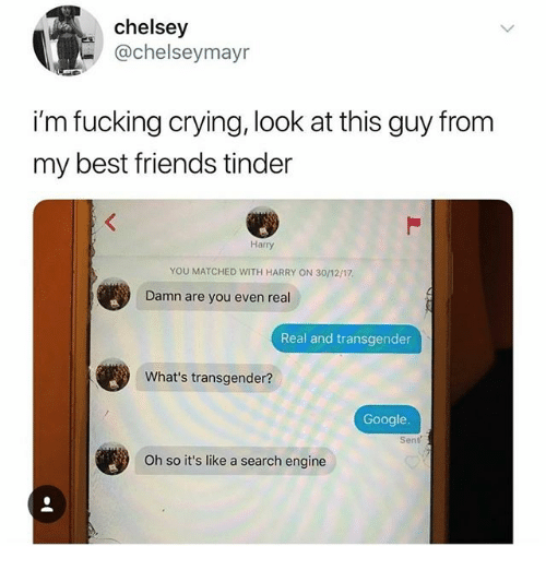 Crying, Friends, and Fucking: chelsey  @chelseymayr  i'm fucking crying, look at this guy from  my best friends tinder  Harry  YOU MATCHED WITH HARRY ON 30/12/17  Damn are you even real  Real and transgender  What's transgender?  Google.  Oh so it's like a search engine