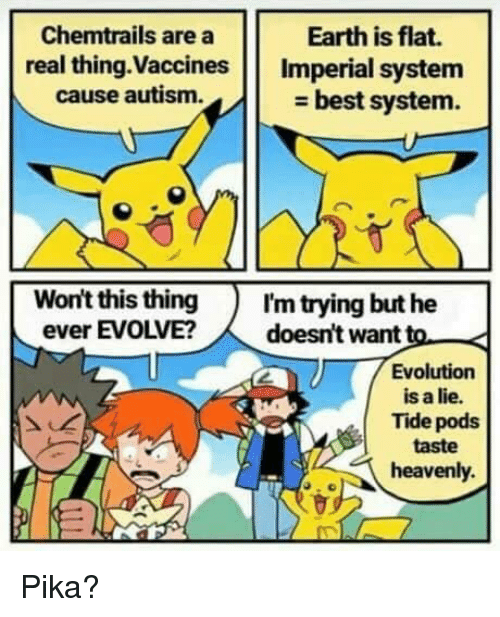 Autism, Best, and Earth: Chemtrails are a  real thing.Vaccines Imperial system  Earth is flat.  cause autism.  - best system.  Won't this thingI'm trying but he  ever EVOLVE?doesn't want to  Evolution  is a lie.  Tide pods  taste  heavenly. Pika?