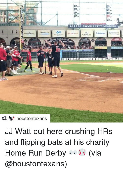 Community, Run, and Sports: CHENIER  tu houstontexans  ASTROS. COMMUNITY LEADERS JJ Watt out here crushing HRs and flipping bats at his charity Home Run Derby 👀⚾️ (via @houstontexans)