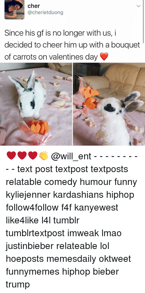 Cher, Funny, and Kardashians: cher  @cherie tduong  Since his gf is no longer with us, i  decided to cheer him up with a bouquet  of carrots on Valentines day ❤❤❤👏 @will_ent - - - - - - - - - - text post textpost textposts relatable comedy humour funny kyliejenner kardashians hiphop follow4follow f4f kanyewest like4like l4l tumblr tumblrtextpost imweak lmao justinbieber relateable lol hoeposts memesdaily oktweet funnymemes hiphop bieber trump