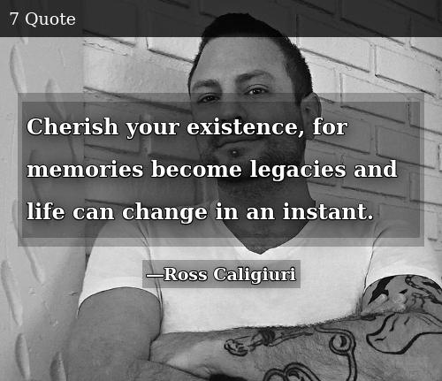 Cherish Your Existence For Memories Become Legacies And Life Can