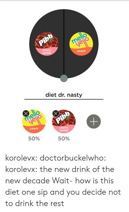 Nasty, Tumblr, and Blog: cherry  vanilla  peach  diet dr. nasty  cherry  vanilla  peach  50%  50% korolevx:  doctorbuckelwho:   korolevx: the new drink of the new decade  Wait- how is this diet   one sip and you decide not to drink the rest