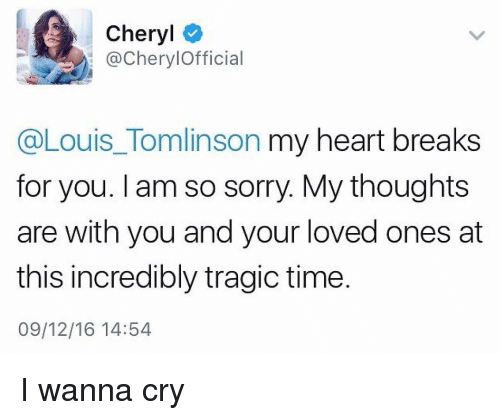 Cheryl Louis Tomlinson My Heart Breaks For You Am So Sorry My