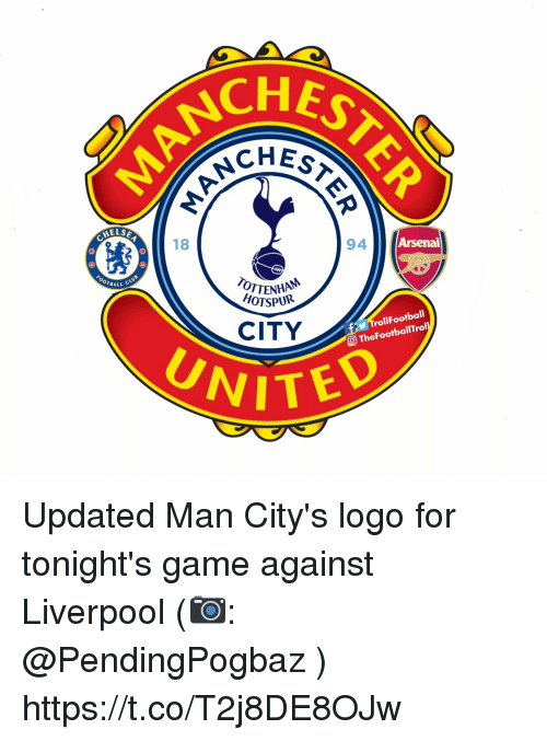 Arsenal, Memes, and Liverpool F.C.: CHES  HESTE  ELSE  18  94  Arsenal  OTTENHA  HOTSPUR  BALL C  CITY  TrollFootball  O TheFootballTrol  UNITED Updated Man City's logo for tonight's game against Liverpool (📷: @PendingPogbaz ) https://t.co/T2j8DE8OJw