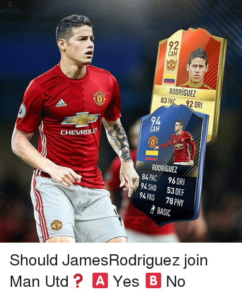 Memes, Chevrolet, and 🤖: CHEVROLET E  CAM  RODRIGUEZ  83 92 DRI  CAM  RODRIGUEZ  84 96 DRI  PAC 94 SHO 53 DEF  94 78 PAS PHY  BASIC Should JamesRodriguez join Man Utd❓ 🅰️ Yes 🅱️ No