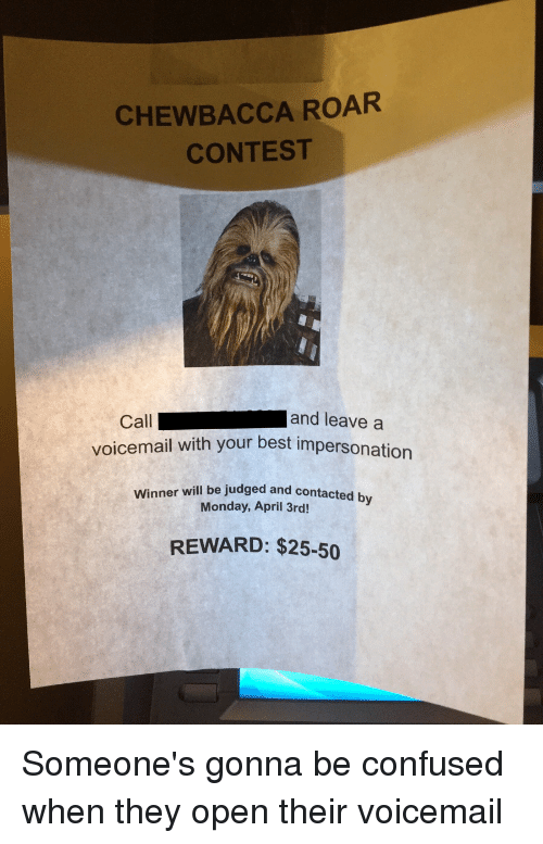 how to leave a voicemail without calling iphone chewbacca roar contest and leave a call voicemail with 8265