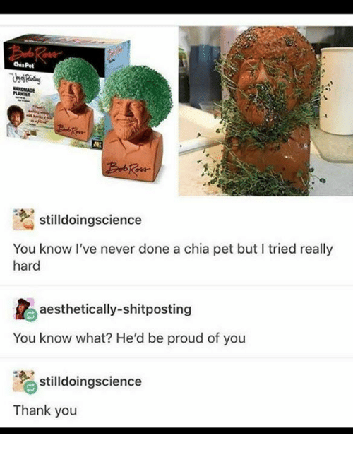 Thank You, Proud, and Never: Chia Pet  PLANTER  stilldoingscience  You know l've never done a chia pet but I tried really  hard  aesthetically-shitposting  You know what? He'd be proud of you  stilldoingscience  Thank you