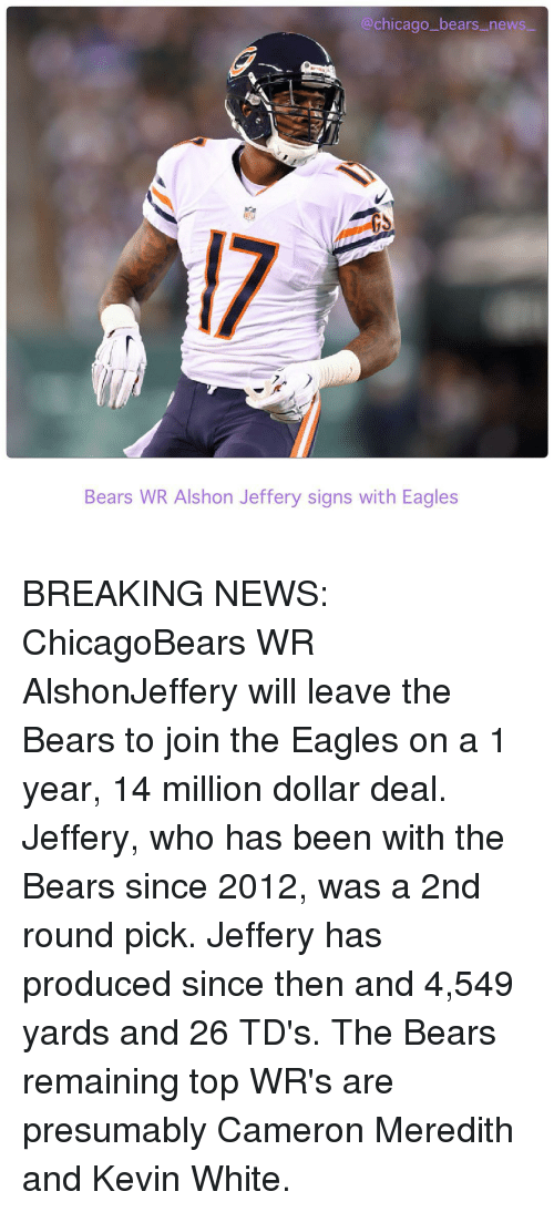 Chicago Bears News Bears WR Alshon Jeffery Signs With Eagles