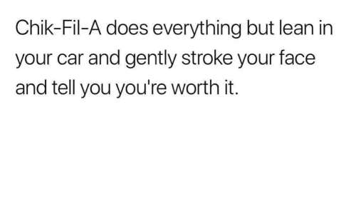 Lean, Stroke, and Car: Chik-Fil-A does everything but lean in  your car and gently stroke your face  and tell you you're worth it.