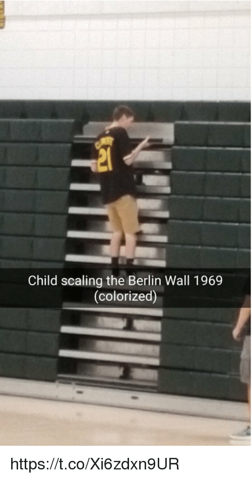 Berlin, Berlin Wall, and Child: Child scaling the Berlin Wall 1969  (colorized) https://t.co/Xi6zdxn9UR