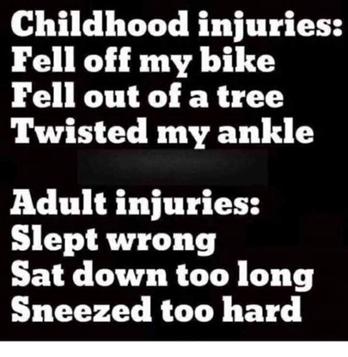 Childhood Injuries Fell Off My Bike Fell Out of a Tree