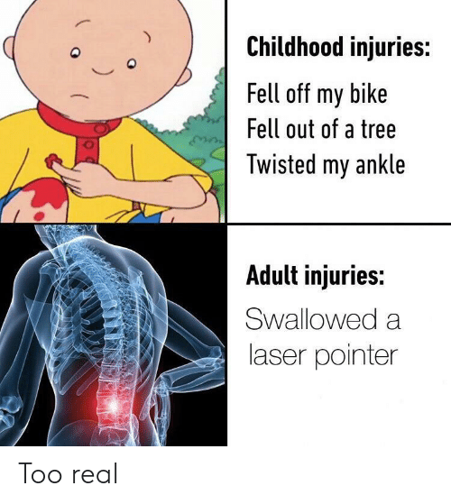 Tree, Bike, and Twisted: Childhood injuries:  Q  Fell off my bike  Fell out of a tree  Twisted my ankle  Adult injuries:  Swallowed a  laser pointer Too real