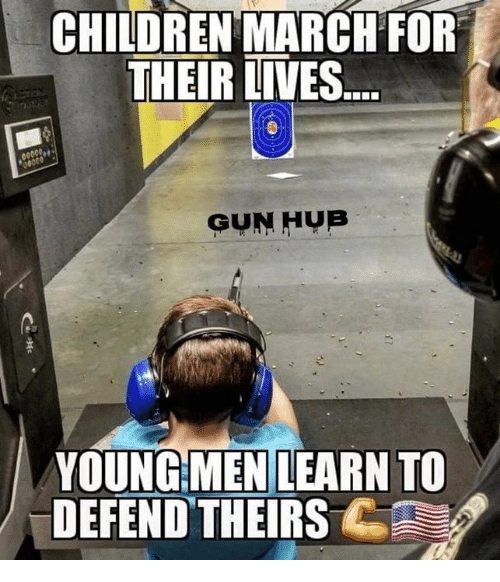 Children, Memes, and 🤖: CHILDREN MARCH FOR  THEIR LIVES  GUN HUB  n.  YOUNG MEN LEARN TO  DEFEND THEIRS