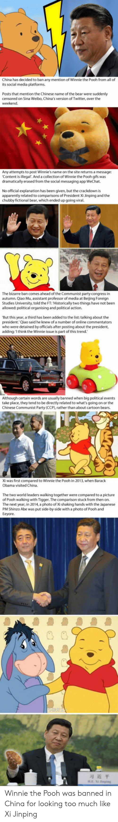 Apparently, Beijing, and Obama: China has decided to ban any mention of Winnie the Pooh from all of  its social media platforms  Posts that mention the Chinese name of the bear were suddenly  censored on Sina Weibo, China's version of Twitter, over the  Any attempts to post Winnie's name on the site returns a message:  Content is illegal. And a collection of Winnie the Pooh gifs was  dramatically erased from the social messaging app WeChat  No official explanation has been given, but the crackdown is  apparently related to comparisons of President Xi Jinping and the  chubby fictional bear, which ended up going viral.  The bizarre ban comes ahead of the Communist party congress in  autumn. Qiao Mu, assistant professor of media at Beijing Foreign  Studies University, told the FT: Historically two things have not been  allowed: political organising and political action  'But this year, a third has been added to the list: talking about the  president.Qiao said he knew of a number of online commentators  who were detained by officials after posting about the president,  adding:'I think the Winnie issue is part of this trend.  Although certain words are usually banned when big political events  take place, they tend to be directly related to what's going on or the  Chinese Communist Party (CCP), rather than about cartoon bears.  Xi was first compared to Winnie the Pooh in 2013, when Barack  Obama visited China.  The two world leaders walking together were compared to a picture  of Pooh walking with Tigger. The comparison stuck from then on.  The next year, in 2014, a photo of Xi shaking hands with the Japanese  PM Shinzo Abe was put side-by-side with a photo of Pooh and  Eeyore.  习近平 Winnie the Pooh was banned in China for looking too much like Xi Jinping