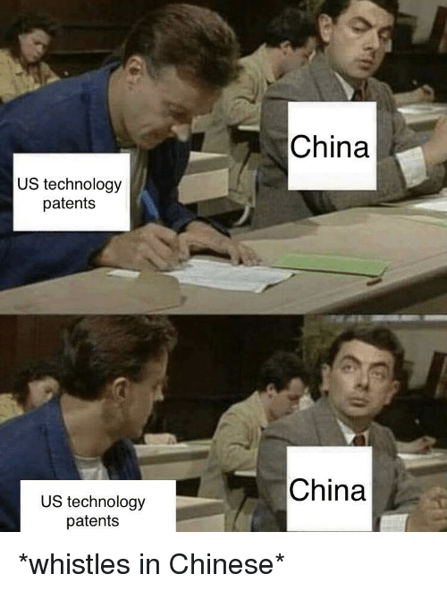 China, Chinese, and Technology: China  US technology  patents  China  US technology  patents *whistles in Chinese*