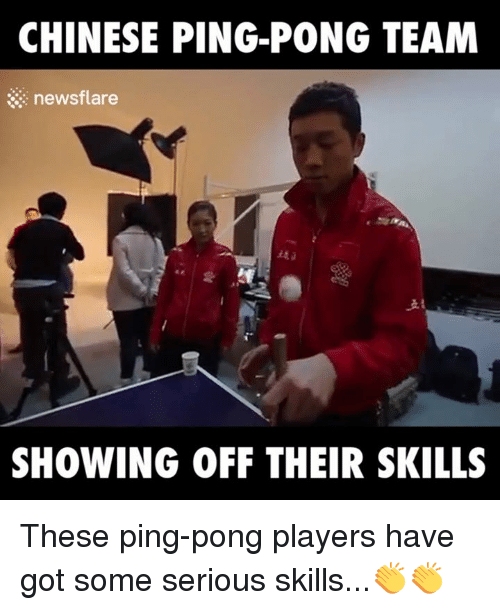 Dank, News, and 🤖: CHINESE PING-PONG TEAM  news flare  SHOWING OFF THEIR SKILLS These ping-pong players have got some serious skills...👏👏