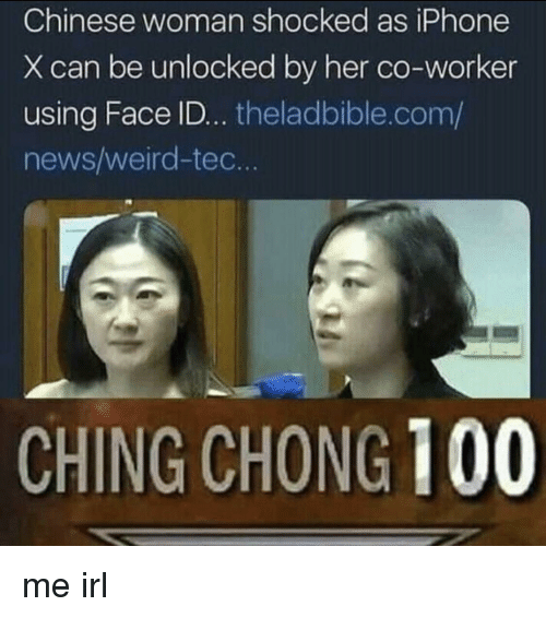 Anaconda, Iphone, and News: Chinese woman shocked as iPhone  X can be unlocked by her co-worker  using Face ID... theladbible.com/  news/weird-tec.  CHING CHONG 100