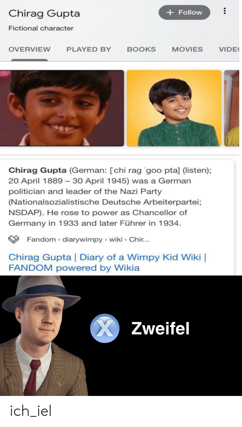 Books, Movies, and Party: Chirag Gupta  Follow  Fictional character  VIDE  OVERVIEW  PLAYED BY  BOOKS  MOVIES  Chirag Gupta (German: [chi rag goo ptal (listen);  20 April 1889 30 April 1945) was a German  politician and leader of the Nazi Party  (Nationalsozialistische Deutsche Arbeiterpartei;  NSDAP). He rose to power as Chancellor of  Germany in 1933 and later Führer in 1934.  Fandom diarywimpy wiki Chir...  Chirag Gupta | Diary of a Wimpy Kid Wiki  FANDOM powered by Wikia  X  Zweifel ich_iel