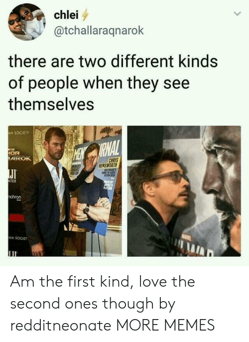 Dank, Love, and Memes: chlei  @tchallaraqnarok  there are two different kinds  of people when they see  themselves  MA SOCIETY  RNAL  OR  CHRIS  EMSWORTH  JI  TER  chron  MA SOCIET Am the first kind, love the second ones though by redditneonate MORE MEMES