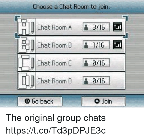 Funny, Chat, and Back: Choose a Chat Room to join.  Chat Room A  Chat Room B1/16  Chat RoomC 9/16  Chat Room D 0/16  e Go back  Din The original group chats https://t.co/Td3pDPJE3c
