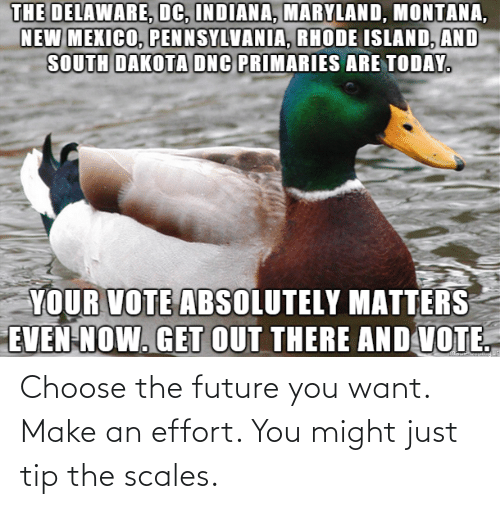 Future, Make, and You: Choose the future you want. Make an effort. You might just tip the scales.