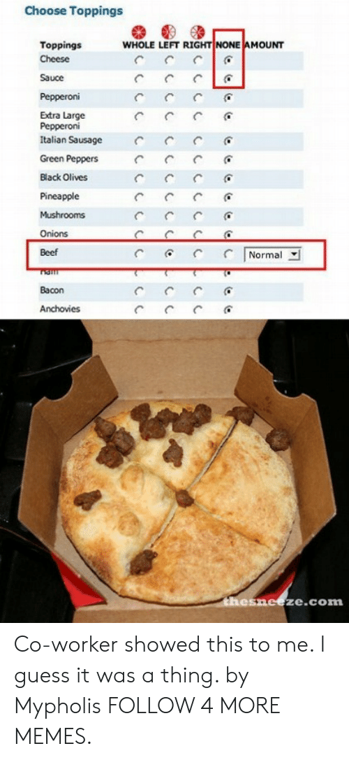Beef, Dank, and Memes: Choose Toppings  WHOLE LEFT RIGHT NONE AMOUNT  Toppings  Cheese  Sauce  Pepperoni  Extra Large  Pepperoni  Italian Sausage  Green Peppers  Black Olives  Pineapple  Mushrooms  Onions  Normal  Beef  Bacon  Anchovies  C  thesneeze.com Co-worker showed this to me. I guess it was a thing. by Mypholis FOLLOW 4 MORE MEMES.
