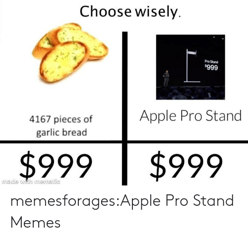 Apple, Memes, and Target: Choose wisely  Pro Stand  $999  Apple Pro Stand  4167 pieces of  garlic bread  $999  $999  made with mematic memesforages:Apple Pro Stand Memes