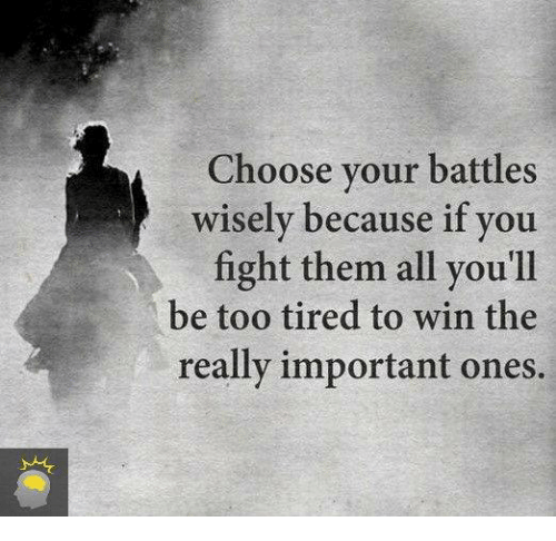 Dank, 🤖, and Battles: Choose your battles  wisely because if you  fight them all you'll  be too tired to win the  really important ones.
