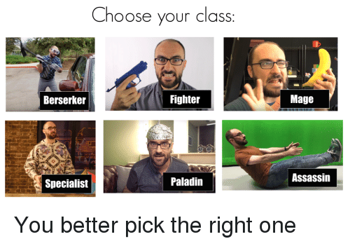 Paladin, Class, and Assassin: Choose your class  Berserker  Fighter  Mage  Specialist  Paladin  Assassin <p>You better pick the right one</p>