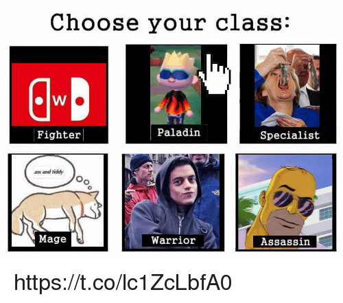 Ass, Paladin, and Warrior: Choose your class:  Fighter  Paladin  Specialist  ass and tiddy  Oo  Mage  Warrior  Assassin https://t.co/lc1ZcLbfA0
