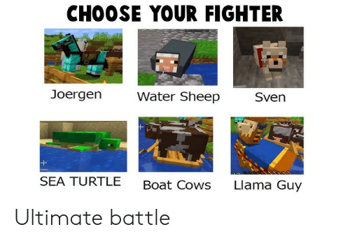 Turtle, Water, and Boat: CHOOSE YOUR FIGHTER  Joergen  Water Sheep  Sven  SEA TURTLE  Llama Guy  Boat Cows Ultimate battle