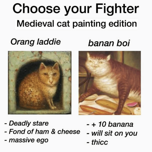 Banana, Classical Art, and Medieval: Choose your Fighter  Medieval cat painting edition  Orang laddie  banan boi  Deadly stare  - Fond of ham & cheese  - massive ego  - 10 banana  - will sit on you  - thicc
