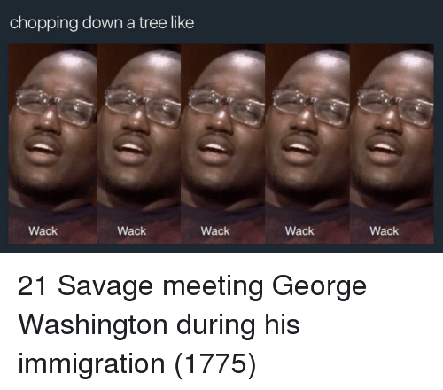 Savage, George Washington, and Immigration: chopping down a tree like  Wack  Wack  Wack  Wack  Wack 21 Savage meeting George Washington during his immigration (1775)