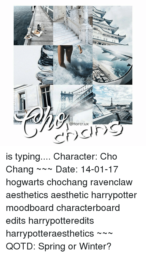 Memes, Aesthetic, and Spring: CHorer.ux is typing.... Character: Cho Chang ~~~ Date: 14-01-17 hogwarts chochang ravenclaw aesthetics aesthetic harrypotter moodboard characterboard edits harrypotteredits harrypotteraesthetics ~~~ QOTD: Spring or Winter?