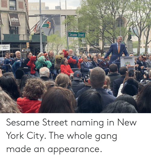 New York, Sesame Street, and Gang: CHOWDE  HOUSE  W 63 S  Sesame Street  ks  0  SHURE Sesame Street naming in New York City. The whole gang made an appearance.