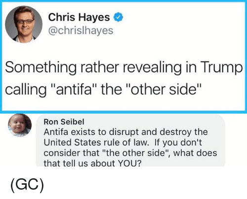 "Memes, Trump, and United: Chris Hayes  @chrislhayes  Something rather revealing in Trump  calling ""antifa"" the ""other side""  Ron Seibel  Antifa exists to disrupt and destroy the  United States rule of law. If you don't  consider that ""the other side"", what does  that tell us about YOU? (GC)"
