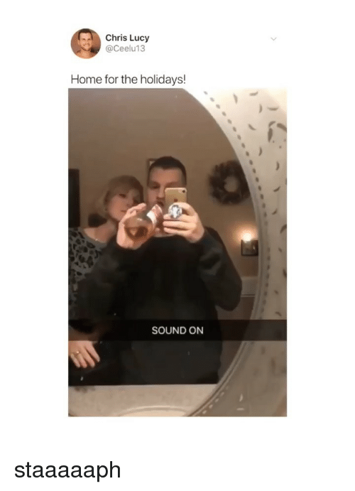 Home, Lucy, and Girl Memes: Chris Lucy  @Ceelu13  Home for the holidays!  SOUND ON staaaaaph