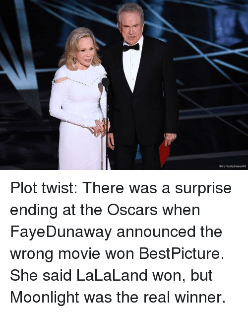 Memes, Moonlight, and 🤖: (Chris Pizzello/Invision/AP) Plot twist: There was a surprise ending at the Oscars when FayeDunaway announced the wrong movie won BestPicture. She said LaLaLand won, but Moonlight was the real winner.