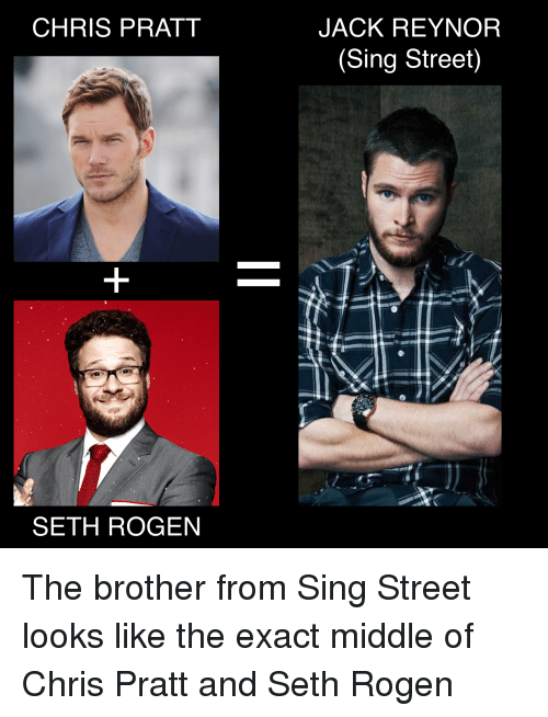 Chris Pratt, Funny, and Seth Rogen: CHRIS PRATT  SETH ROGEN  JACK REYNOR  Sing Street) The brother from Sing Street looks like the exact middle of Chris Pratt and Seth Rogen