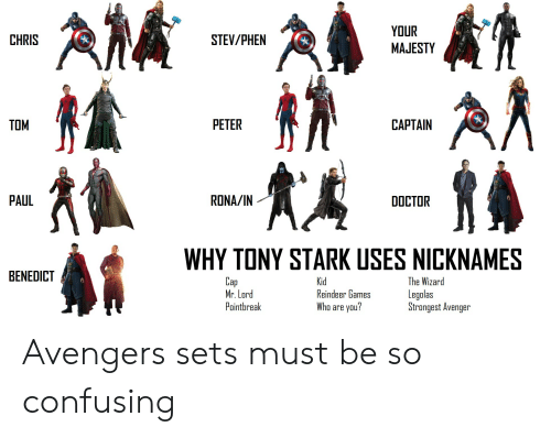 Doctor, Marvel Comics, and Avengers: CHRIS  STEV/PHEN  MAJESTY  TOM  PETER  CAPTAIN  PAUL  RONA/IN  DOCTOR  WHY TONY STARK USES NICKNAMES  BENEDICT  Cap  Mr. Lord  Pointbreak  The Wizard  Legolas  Strongest Avenger  Teindeer uames  Who are you? Avengers sets must be so confusing