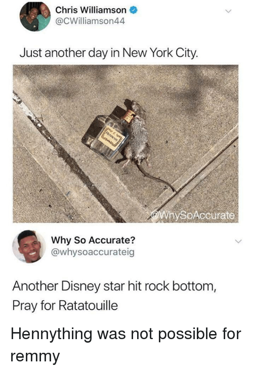 Disney, New York, and Ratatouille: Chris Williamson  @CWilliamson44  Just another day in New York City.  WhySoAccurate  Why So Accurate?  @whysoaccurateig  Another Disney star hit rock bottom,  Pray for Ratatouille Hennything was not possible for remmy