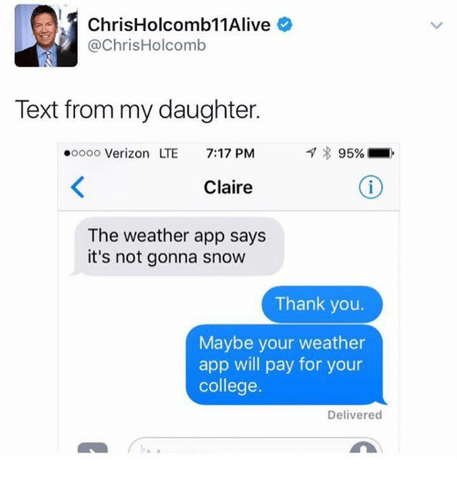ChrisHolcomb 11Alive Holcomb Text From My Daughter Ooooo