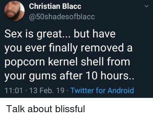 Android, Memes, and Sex: Christian Blacc  @50shadesofblacc  Sex is great... but have  vou ever finallv removed a  popcorn kernel shell from  your gums after 10 hours  11:01 13 Feb. 19 Twitter for Android Talk about blissful