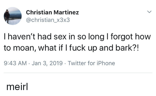 Iphone, Sex, and Twitter: Christian Martinez  @christian_x3x3  I haven't had sex in so long I forgot how  to moan, what if I fuck up and bark?!  9:43 AM Jan 3, 2019 Twitter for iPhone meirl