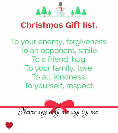 Family Christmas Gift Lists.Christmas Gift List To Your Enemy Forgiveness To An Opponent