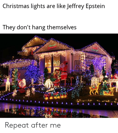 Christmas, Jeffrey Epstein, and Lights: Christmas lights are like Jeffrey Epstein  They don't hang themselves Repeat after me