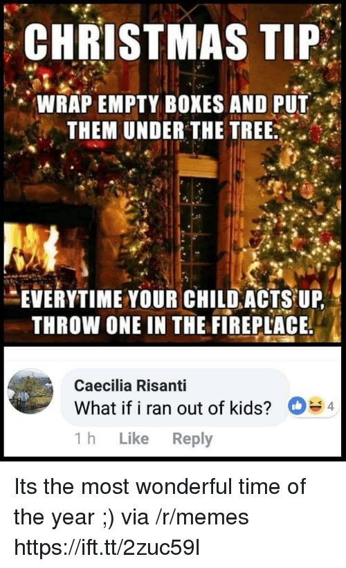 Christmas, Memes, and Kids: CHRISTMAS TIP  ,' WRAP EMPTY BOXES AND PUT  THEM UNDER THE TREE  EVERYTIME YOUR CHILD ACIS UP  THROW ONE IN THE FIREPLACE  Caecilia Risanti  What if i ran out of kids?  1h Like Reply  4 Its the most wonderful time of the year ;) via /r/memes https://ift.tt/2zuc59l