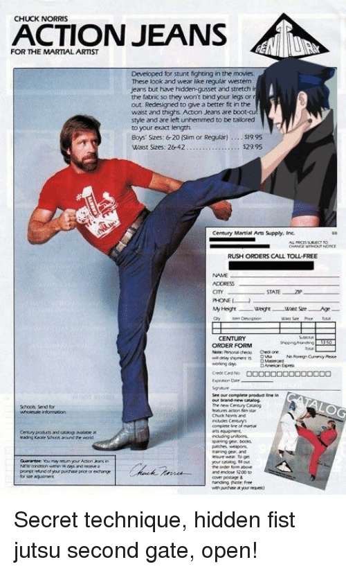 Chuck Norris Action Jeans For The Martial Artist Developed For