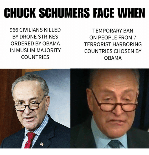 Drone Memes And Drones CHUCK SCHUMERS FACE WHEN 966 CIVILIANS KILLED TEMPORARY BAN